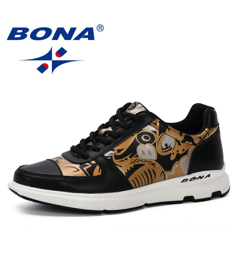 BONA 2019 New Spring Autumn Men Casual Shoes Cartoon Animation Men Microfiber Shoes Loafers Lace-Up Comfortable Men Flat Shoes