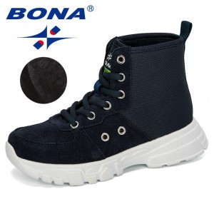 BONA 2019 Autumn New Boys Boots Children Winter Shoes Sneakers Kids Ankle Boots Fashion Boots Plush Warm Platform Comfortable