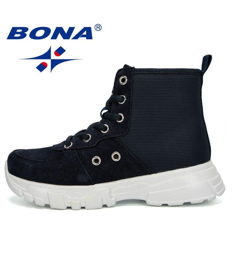 BONA 2019 Autumn New Boys Boots Children Winter Shoes Sneakers Kids Ankle Boots Fashion Boots Plush Warm Platform Comfortable