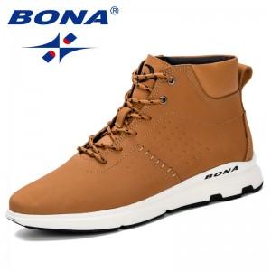 BONA 2019 Spring Autumn New Arival Boots Men High Upper Boots Men Casual Comfortable Boots Men Plush Zipper Winter Shoes Men