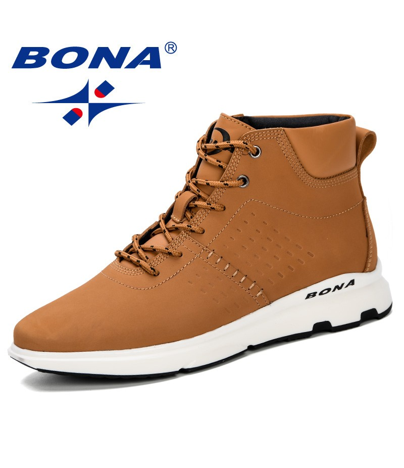 BONA 2019 Spring Autumn New Arival Boots Men High Upper Boots Men Casual Comfortable Boots Men Plush Zipper Winter Shoes Men