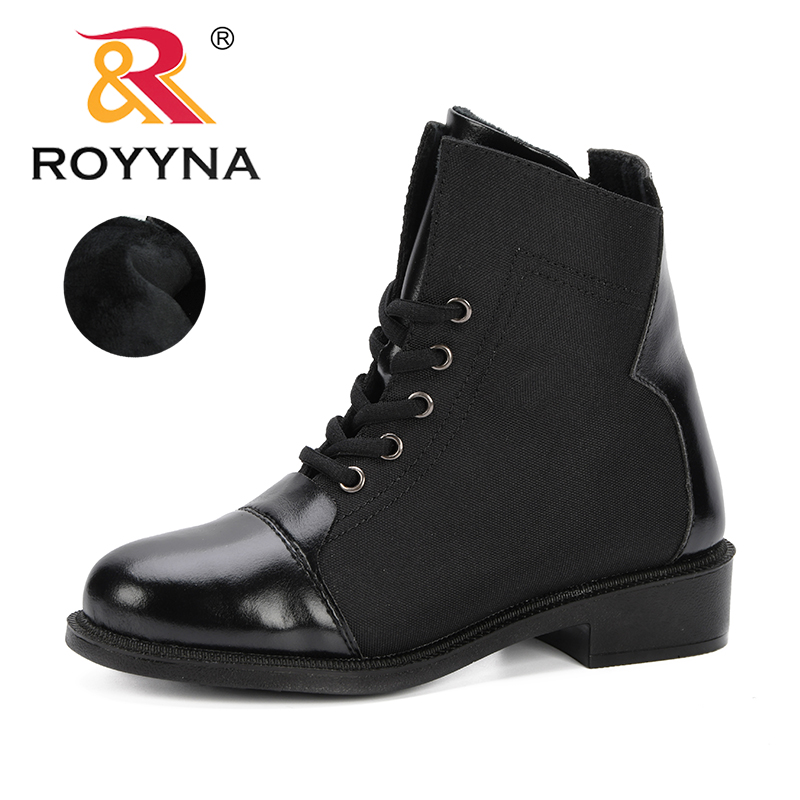 ROYYNA 2019 Platform Heels Women Ankle Boots Microfiber Leather Thick Heel Feminimo Boots Winter Autumn Boots Comfortable Shoes