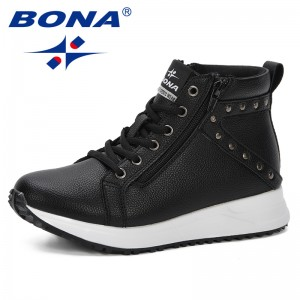 BONA 2019 Spring Autumn Women Boots Flat Thick Heels Ankle Boots Platform Shoes Brand Women Shoes Botas Mujer Zipper Trendy