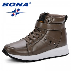 BONA 2019 Autumn Winter Women Boots Woman Microfiber Leather Flat Ankle Boots Female Lace-Up Snow Boots Women Boots Comfortable