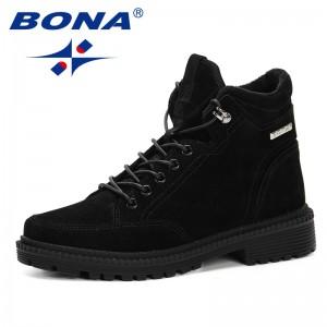 BONA 2019 Ankle Boots Women Platform Lower Heels Flock Shoes Thick Heels Short Boot Ladies Casual Footwear Outdoor Feminimo