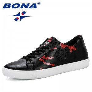 BONA 2019 New Classics Style Spring Autumn Breathable Lace-Up Casual Shoes Men Flat Loafers Shoes Zapatos Hombre Leisure Shoes