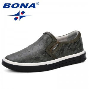 BONA Brand 2019 Spring Autumn Designer Sneakers Men Casual Shoes Handmade Leather Bass Breathable Man Elastic Band Grey Shoes