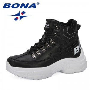 BONA 2019 Women Boots Spring Autmn Boots Female Ankle Botas Comfortable Ladies Shoes Fashion Outdoor Feminimo Footwear Trendy