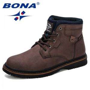 BONA 2019 New Designer Men Outdoor Snow Ankle Boots Male Lace Up Anti-slip Booties Shoes Plus Size 46 Zapatos De Hombre Trendy