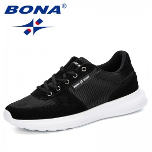 BONA 2019 Mens Sneakers Casual Shoes Mesh Breathable Male Spring Autumn Fashion Lace-Up Chaussure Homme Trainers Man Comfortable