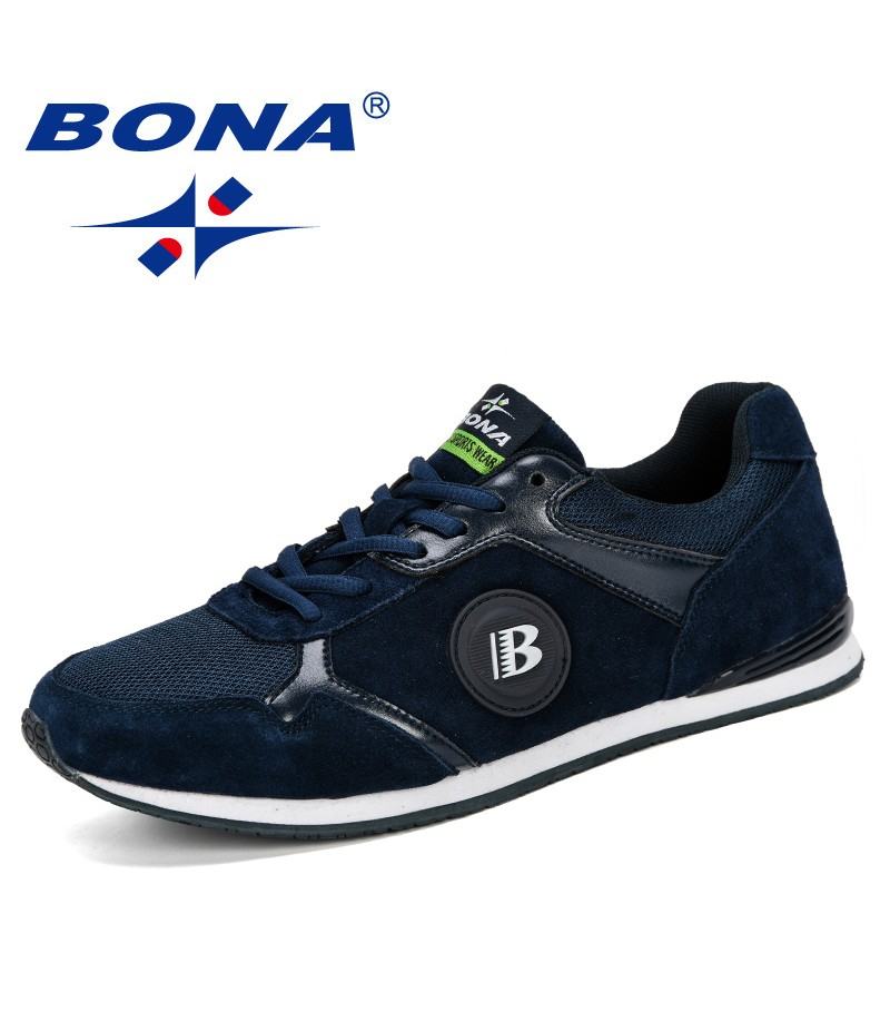 BONA 2019 Comfortable Casual Shoes Men Fashion Mesh Shoes Lace Up Wear-Resistant Man Sneakers Zapatillas Deportiva Comfortable