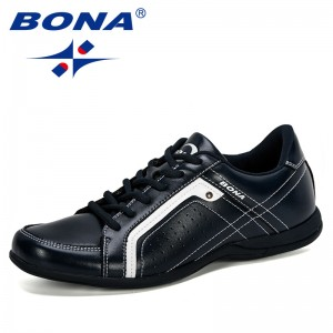 BONA 2019 Men Flats Microfiber Lacing Shoes Breathable Men Casual Shoes Fashion Sneaker Men Loafers Outdoor Man Leisure Footwear