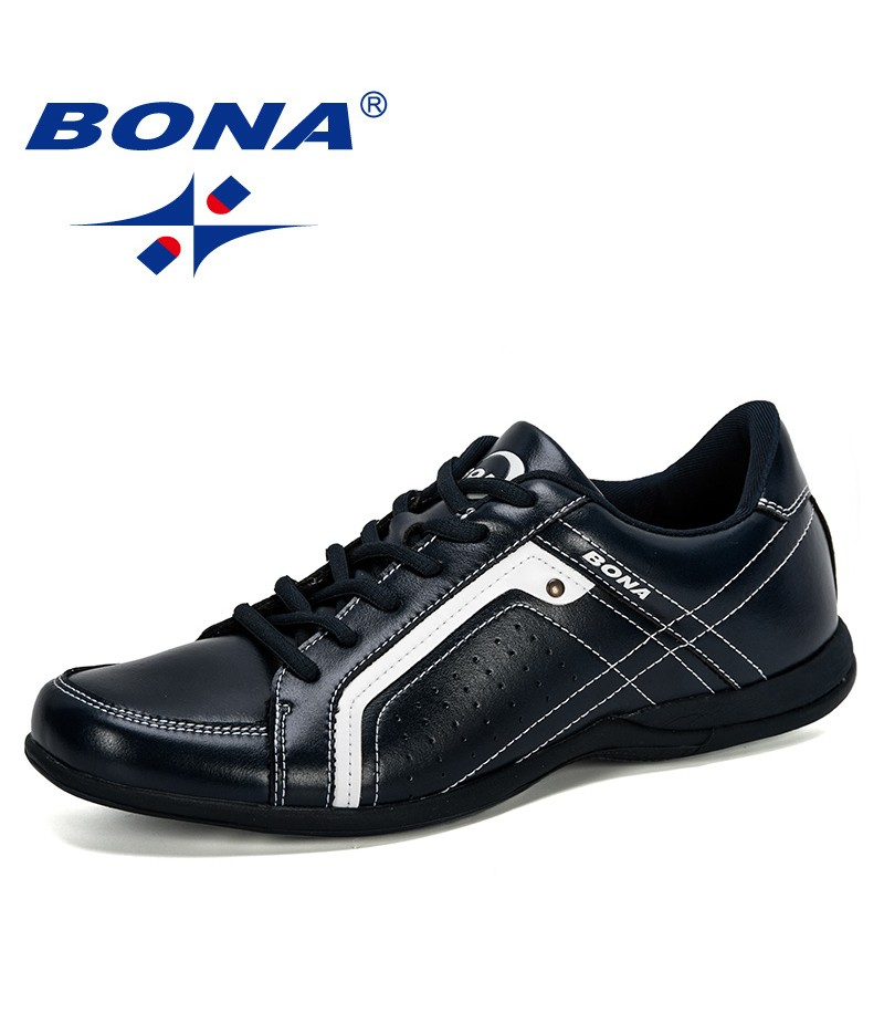 BONA 2019 Men Flats Microfiber Lacing Shoes Breathable Men Casual Shoes Fashion Sneaker Men Loafers Outdoor Man Leisure Footwear