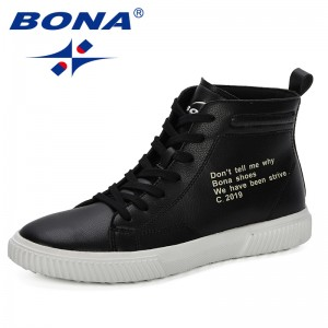 BONA 2019 New Popular Men Boots Ankle Spring Autumn Boots Unisex Fashion High Top Sneakers Male Botas Hombre Casual Footwear