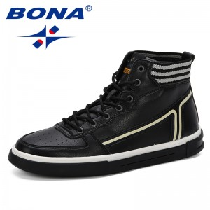 BONA 2019 Spring Autumn New Designer Style Man High Upper Shoes Casual Street Fashion Mixed Color Men Boots Breathable Footwear