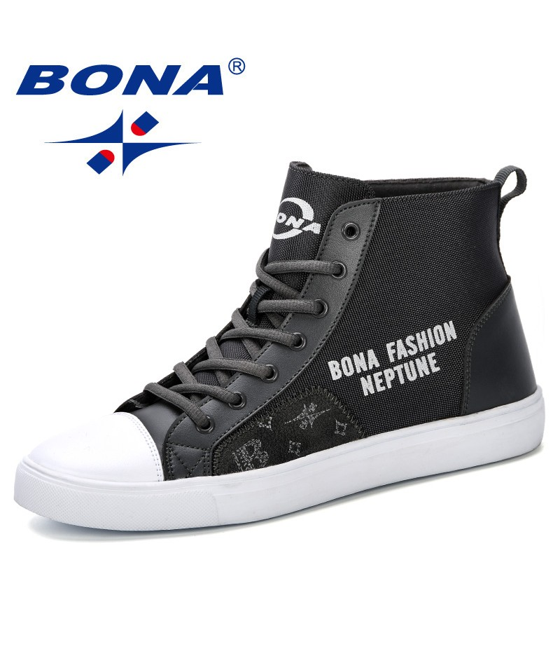 BONA 2019 Autumn and Spring Fashion New Trendy High Upper Canvas Shoes Outdoor Leisure Men Shoes Fashion Students Casual Shoes