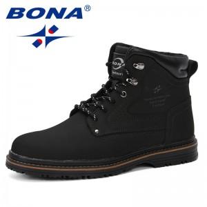 BONA 2019 Outdoor Snow Ankle Boots Male Lace Up Anti-Slip Booties British Martin Shoes Plus Size 46 Zapatos De Hombre Cow Split