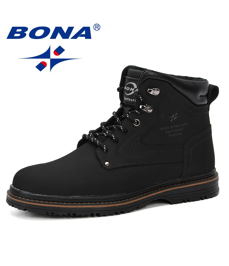 BONA 2019 Outdoor Snow Ankle Boots Male Lace Up Anti-Slip Booties British Martin Shoes Plus Size 46 Zapatos De Hombre Cow Split