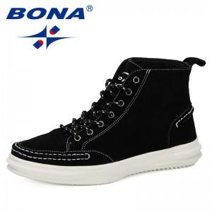 BONA 2019 Men Cow Suede Boots Fashion Casual Retro Shoes Men Autumn Winter Men Ankle Boots Lace Up Men High Upper Footwear
