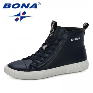 BONA 2019 New Designer Style Men Boots Fashion Men Shoes Spring Autumn Footwear For Man New High Top Casual Shoes Comfortable