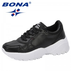 BONA 2019 Sneakers Woman Breathable Women Casual Shoes Vulcanize Female Lace Up Trendy Shoes High Leisure Footwears Feminimo