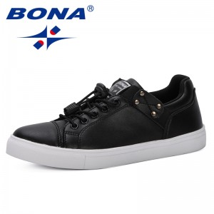 BONA 2019 New Style Woman Sneakers Flat Shoes Spring Summer Breathable Lace Up Women Luxury Brand Shoes Casual Shoes Feminimo