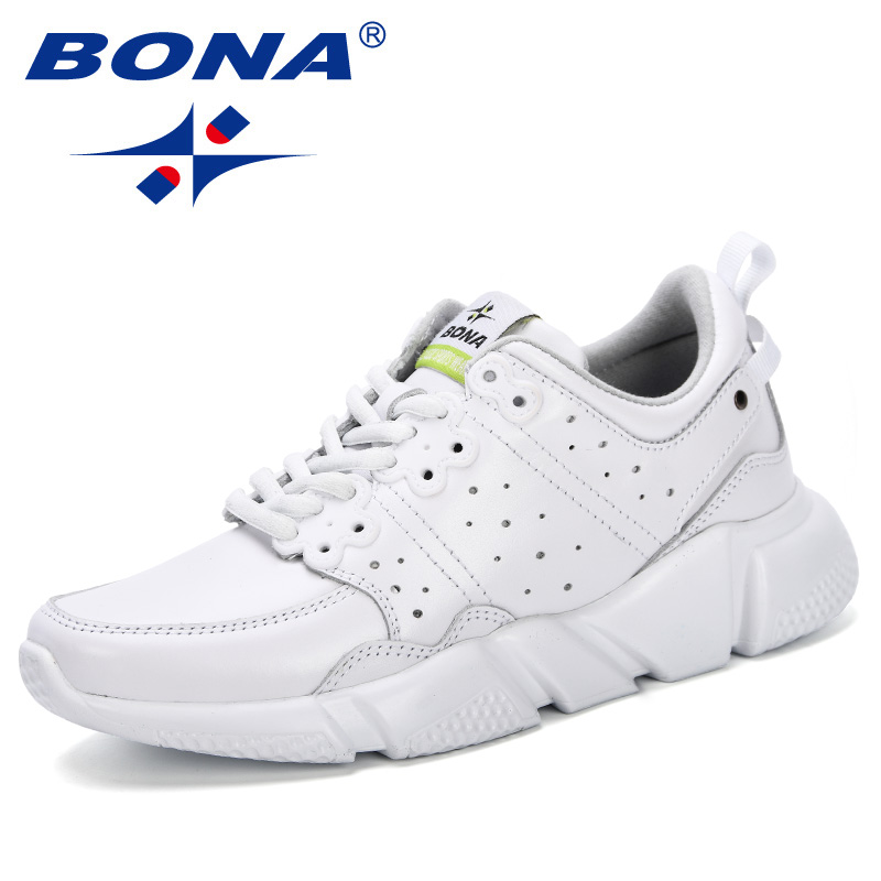 BONA 2019 Breathable Genuine Leather Women Casual Shoes Vulcanize Female Fashion Sneakers Lace Up Soft High Leisure Footwears