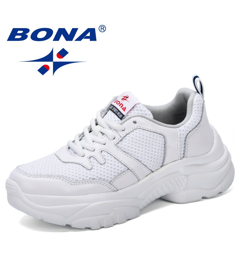 BONA 2019 New Style Women Sneakers Casual Flat Shoes Female Lace Up Vulcanized Shoe comfortable Mesh Spring Autumn Footwear Lady