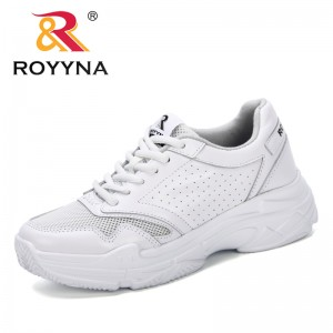 ROYYNA 2019 New Spring Fashion Lady Casual White Shoes Women Brand Sneaker Black Leisure Thick Soled Shoes Flats Lace Up Shoes