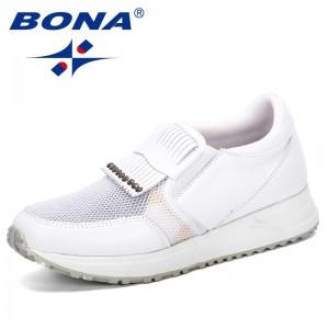 BONA 2019 New Style Woman Casual Shoes Fashion Zapatos De Mujer Tenis Feminino White Sneakers Trainers Women Baskets Mesh Shoes