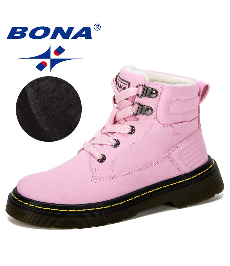 BONA 2019 New Designer Leather Motorcycle Boots Winter Kids Snow Boots Brand Girls Princess Shoes Children Outdoor Boots Trendy