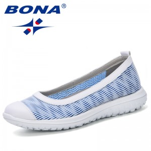 BONA 2019 Mesh Flat Shoes Women Slip-On Cotton Casual Shoes For Woman Walking Stripe Sneakers Loafers Soft Shoes Zapato Footwear