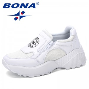 BONA 2019 New Designer Korean Platform Sneakers Women Shoes Zipper Ladies Shoes Outdoor Woman Tenis Feminino Casual Basket Femme