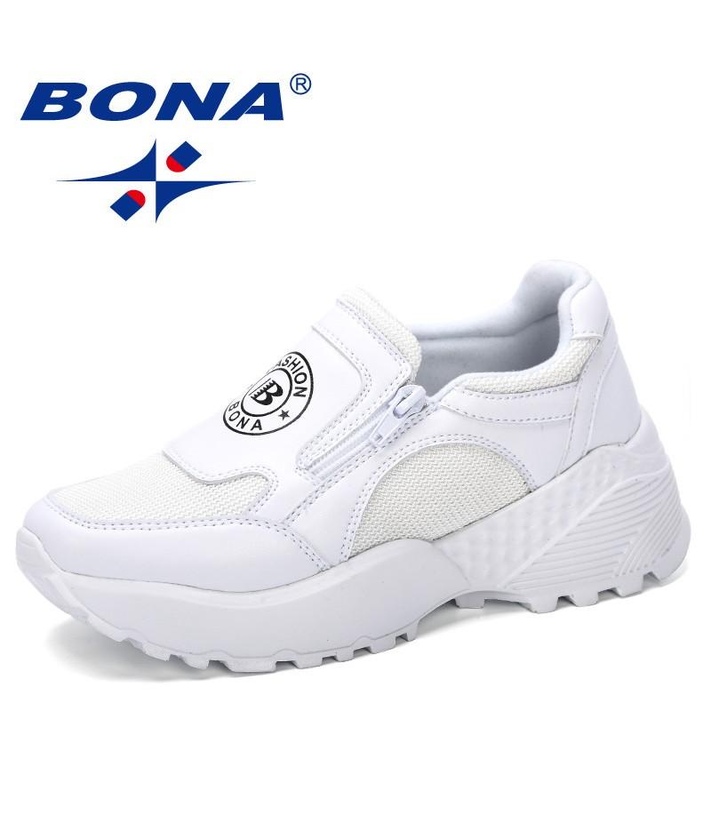 BONA 2019 New Designer Korean Platform Sneakers Women Shoes Zipper Ladies Shoes Outdoor Woman Tenis Feminino Casual Basket Femme