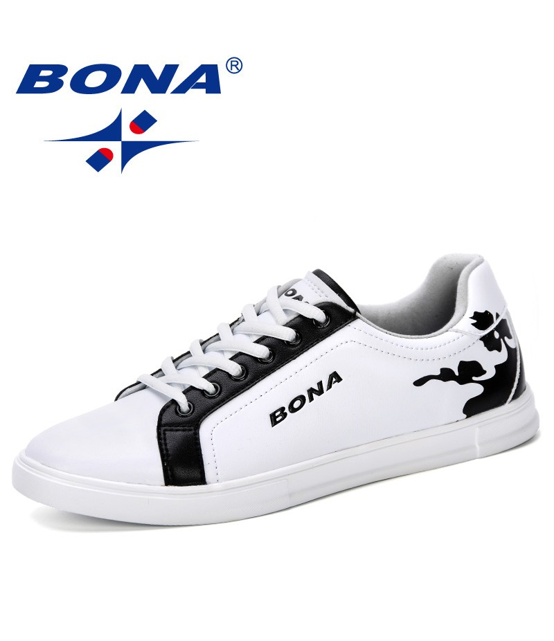 BONA 2019 New Designer Shoes For Men Fashion Men Casual Shoes High Top Vulcanized Men Sneakers Trendy Boys Walking Shoes Flats