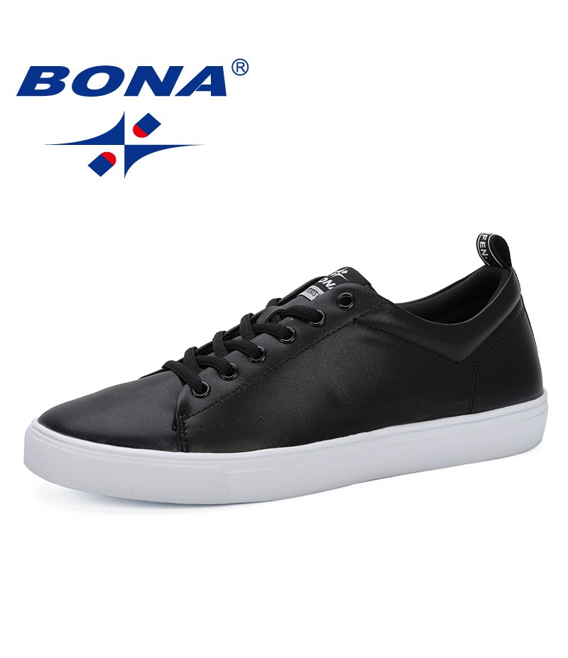 BONA 2019 Spring Summer Flat Shoes Men Sneakers Low Top White Black Shoes Men's Casual Shoes Male Brand Fashion Leisure Footwear