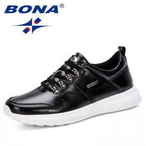 BONA 2019 Fashion Sneakers Breathable Shoes Men Lightweight Lace-Up Loafers Sapatos Masculinos Casual Shoes Man New Designers