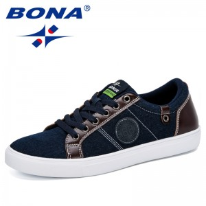 BONA 2019 New Classics Style Men Skateborading Shoes Canvas Outdoor Jogging Shoes Man Comfortable Breathable Flat Shoes Men