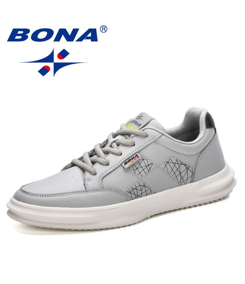 BONA 2019 New Style Men Sneakers Shoes Fashion Men Breathable Casual Shoes Lovers Lace Up Flats Shoes Zapatos de Hombre Trendy