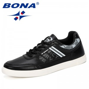 BONA 2019 Classic Sneakers Men Skateboarding Shoes Outdoor Comfortable Mixed Color Male Lovers Lace-Up Sport Shoes Jogging Shoes