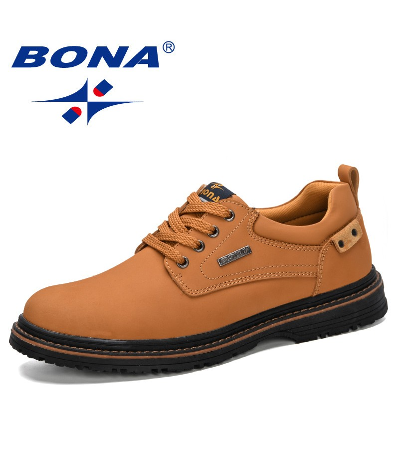 BONA 2019 New Classics Style Men Spring Autumn Comfortable Casual Shoes Men Leather Breathable Flats Shoes Outdoor Working Shoe