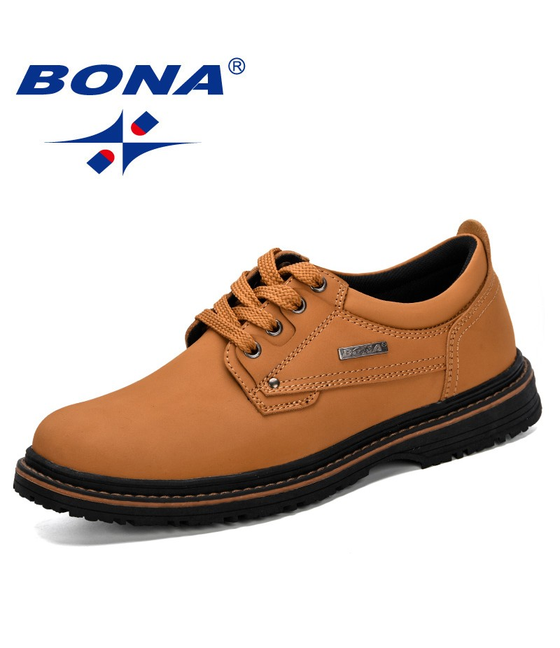 BONA 2019 New Style Men Casual Leather Shoes Oxfords Work Men's Flats Spring Autumn Fashion Luxury Classic Shoes Trendy Comfy