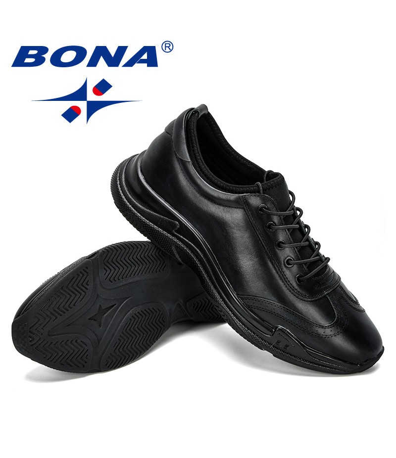 BONA 2019 New Designer Genuine Leather Men's Casual Shoes Fashion Lace Up Sneakers For Men Flat Outdoor Shoes Men Leisure Shoes