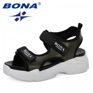 BONA 2019 New Style Summer Women Sandals Platform Wedges Sandals Leather Swing Peep Toe Casual Shoes Women Walk Shoes Trendy