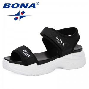 BONA 2019 New Fashion Style Women Sandals Breathable Comfortable Ladies Walking Shoes Summer Platform Black Sandal Shoes Trendy