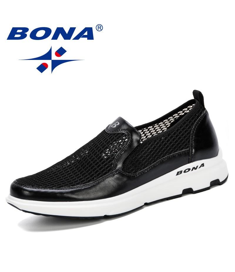 BONA 2019 New Designer Men Casual Shoes Breathable Man Shoes Masculino Shoes Zapatos Hombre Sapatos Outdoor Shoes Sneakers Men