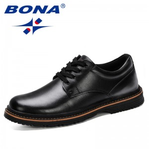 BONA 2019 New Style Men Casual Leather Shoes Men Oxfords Leather Shoes Work Safety Shoes Spring Autumn Comfortable Ankle Botas