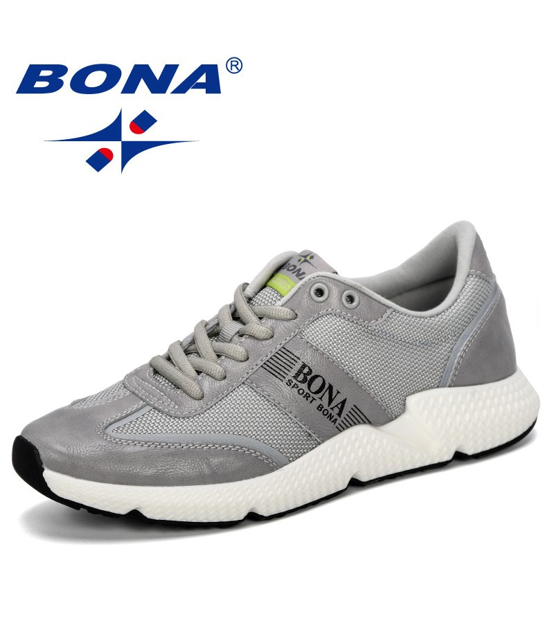 BONA 2019 New Popular Style Lightweight Shoes Fashion Men Breathable Sneakers Lovers Lace Up Flats Shoes Male Zapatos De Hombre