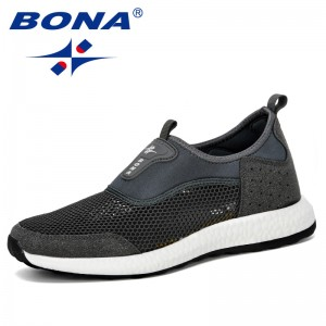 BONA 2019 New Designer Summer Sneakers Breathable Casual Shoes Men Fashion Mens Mesh Flats Shoes Lightweight Walking Shoes Comfy
