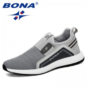 BONA 2019 New Popular Sneakers Men Lightweight Breathable Zapatillas Man Casual Shoes Mesh Footwear Men Zapatos Hombre Trendy